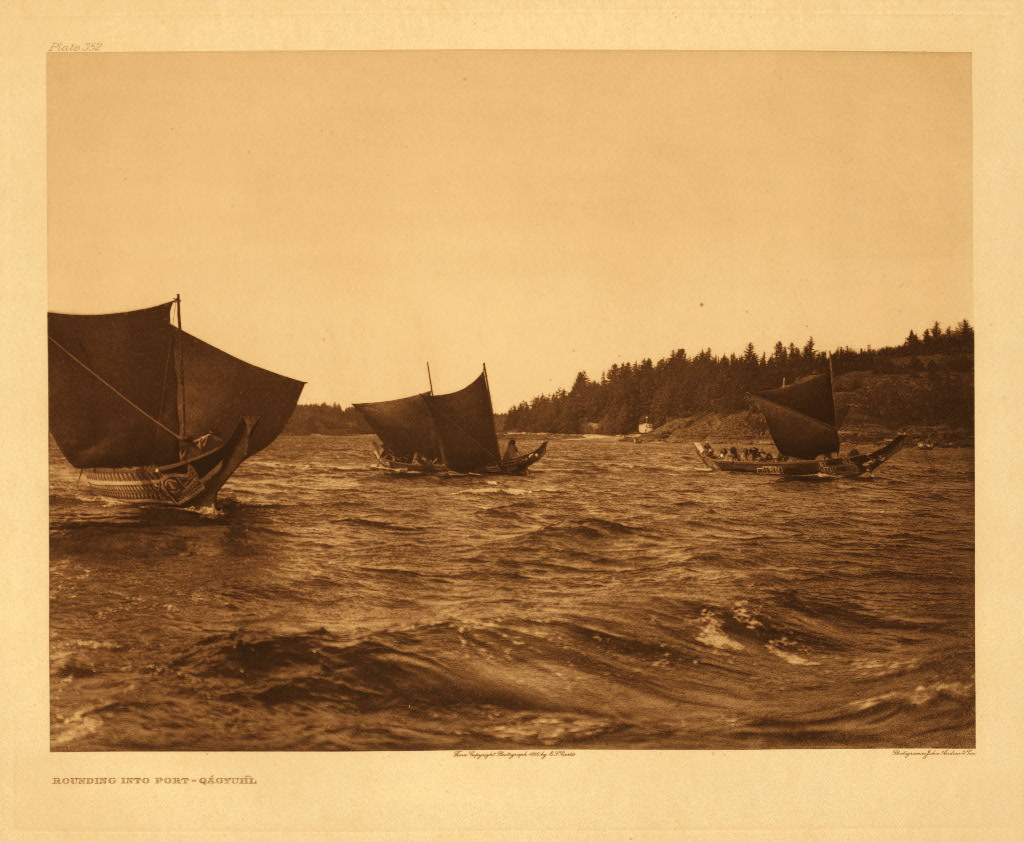 kwakiutl sail for canvas was a sheet of cedar bark matting and on catamarans a large square section of thin boards was propped up against the wind jpg